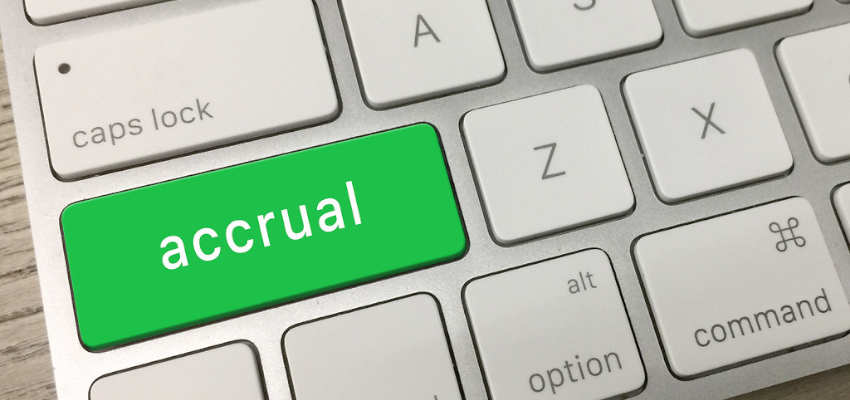 The word accrual on a keyboard