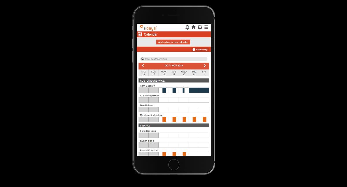 E-days group calendar on a mobile device