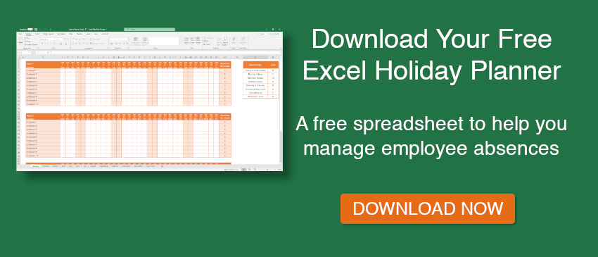Free Excel holiday planner download