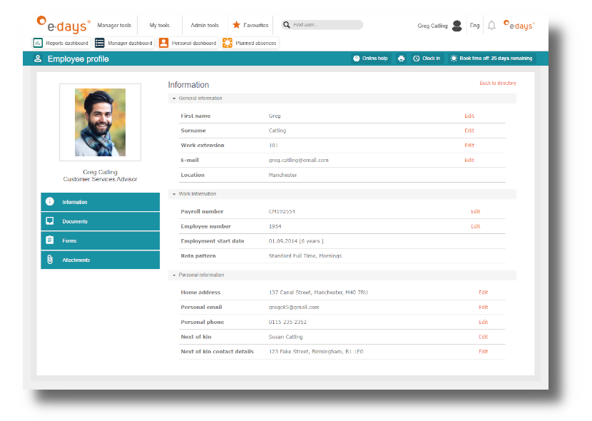 Customised employee database