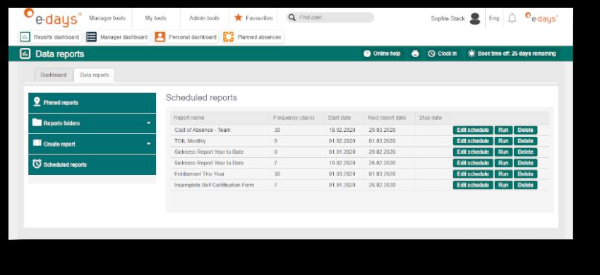 E-days scheduled reports