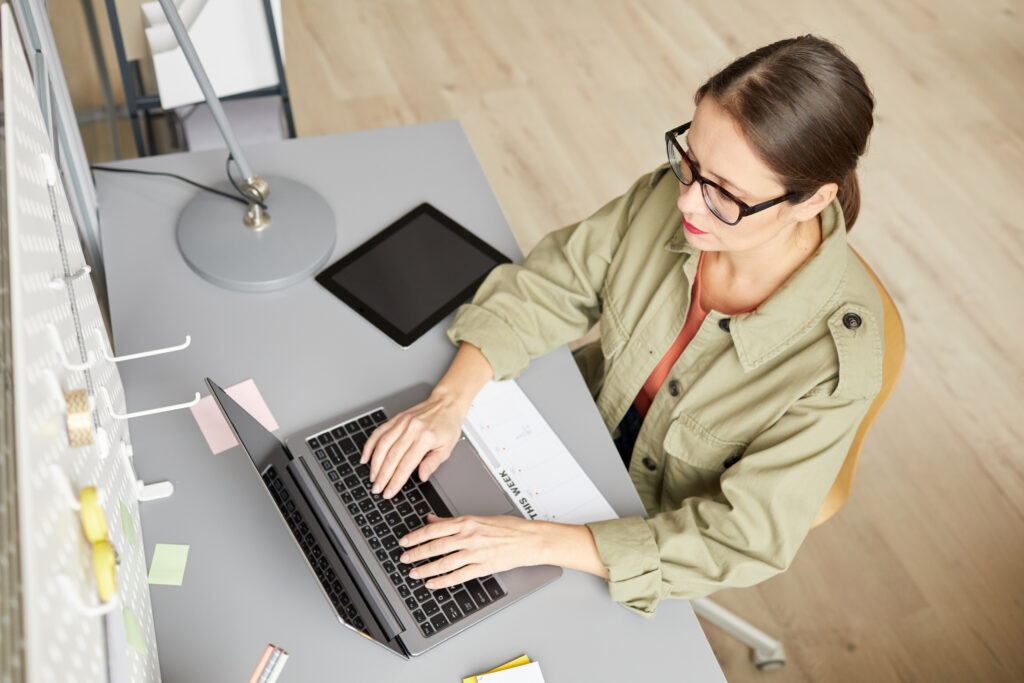 modern woman working from home securely
